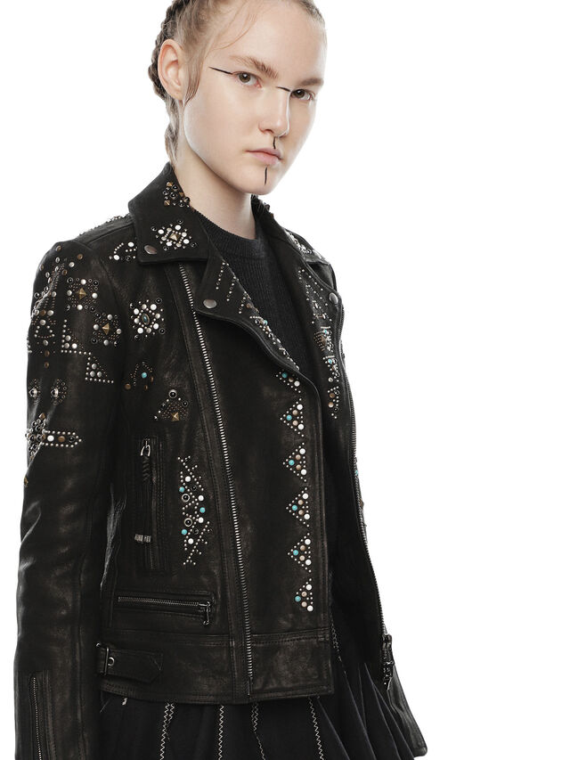 Diesel - LYROCKY, Black Leather - Leather jackets - Image 3