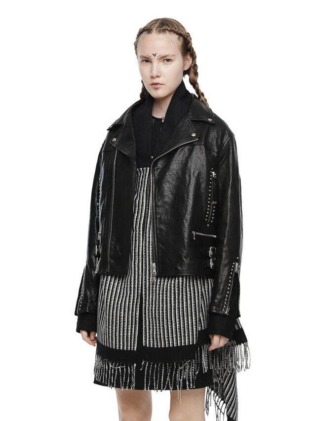 Diesel - LYROCK-A, Black Leather - Leather jackets - Image 1