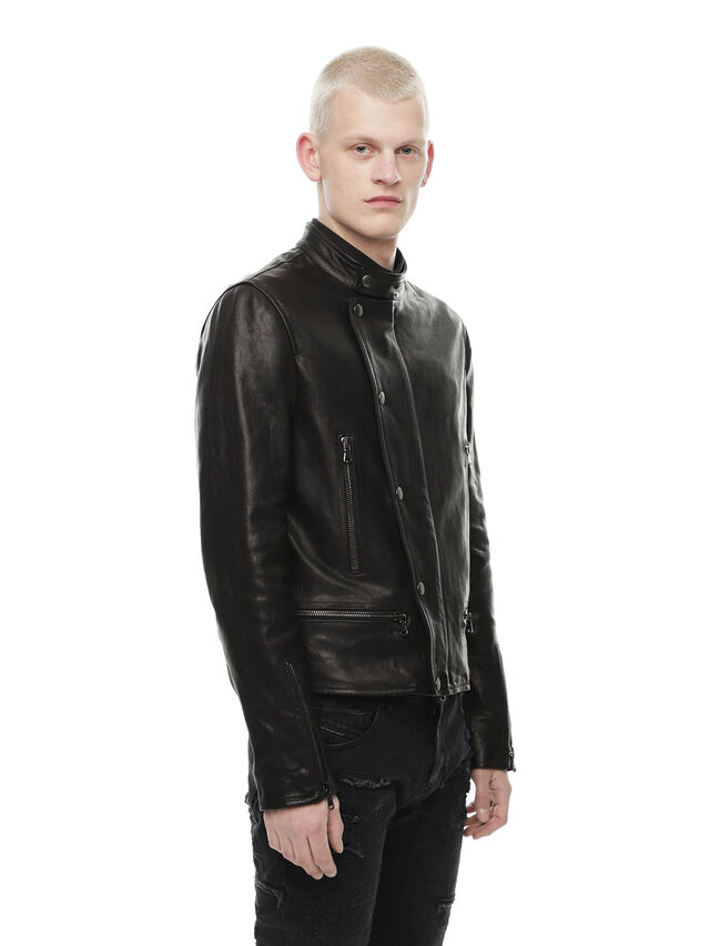 Diesel - LAZING, Black - Leather jackets - Image 3