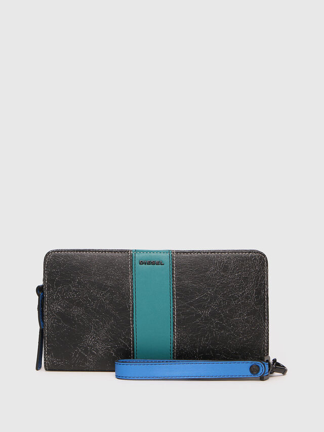 Diesel - NEW GRANATO LOOP, Grey/Blue - Zip-Round Wallets - Image 1