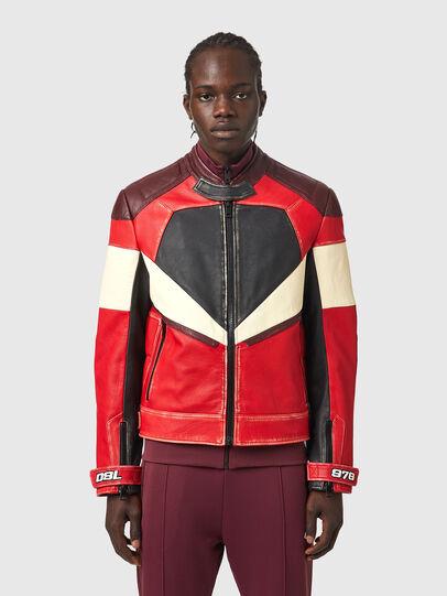 Diesel - L-TEAM, Red/Black - Leather jackets - Image 1