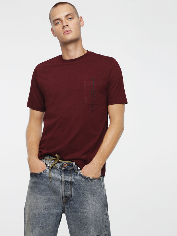 T-JUST-POCKET, Burgundy - T-Shirts