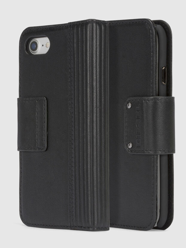 BLACK LINED LEATHER IPHONE 8/7 FOLIO, Noir - Coques à rabat