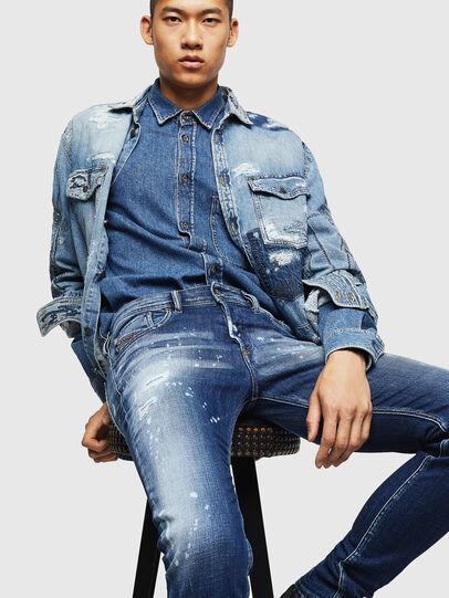 Diesel - Sleenker 0091Y, Bleu moyen - Jeans - Image 4