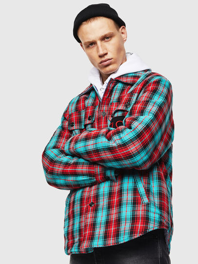 Diesel - S-JOHNS, Green/Red - Shirts - Image 1
