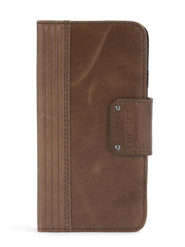 BROWN LINED LEATHER IPHONE 8/7 FOLIO, Marron - Coques à rabat