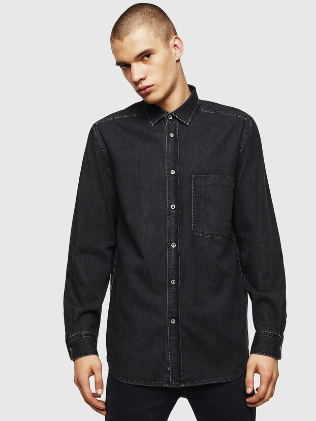 D-BER-P, Black - Denim Shirts
