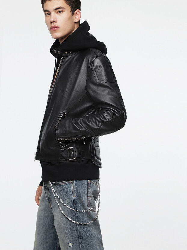 L-RUSHIS, Black Leather - Leather jackets