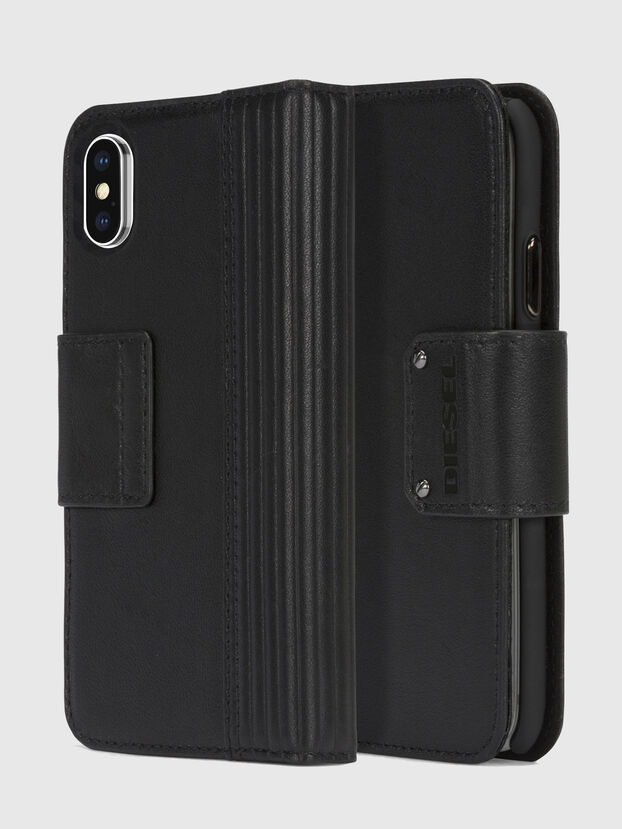 BLACK LINED LEATHER IPHONE X FOLIO, Noir - Coques à rabat