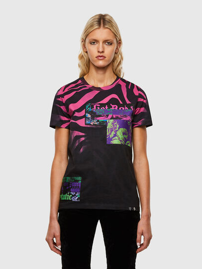 Diesel - T-SILY-R3, Noir/Rose - T-Shirts - Image 1