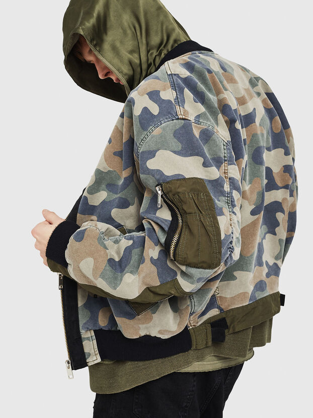 D-AZLEY JOGGJEANS, Vert Camouflage - Vestes en denim
