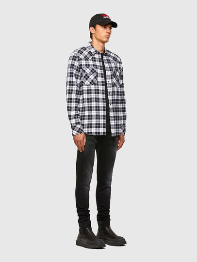 Diesel - S-EAST-LONG-CHK, Black/White - Shirts - Image 5