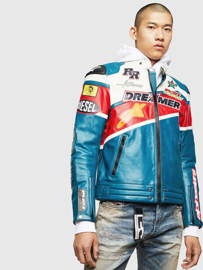 Diesel - ASTARS-LPATCH-1B, Blue - Leather jackets - Image 1