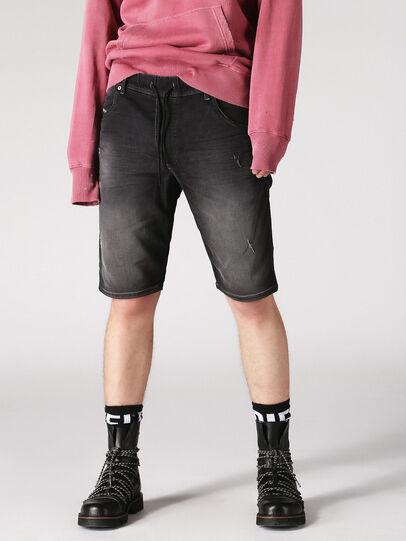 Diesel - KROOSHORT JOGGJEANS, Dark Grey - Shorts - Image 4