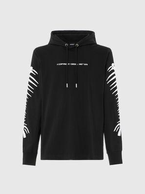T-JUST-LS-HOOD-A6, Noir - T-Shirts