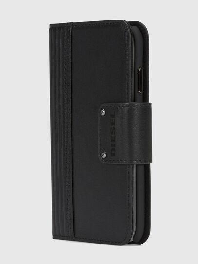 Diesel - BLACK LINED LEATHER IPHONE X FOLIO, Noir - Coques à rabat - Image 3