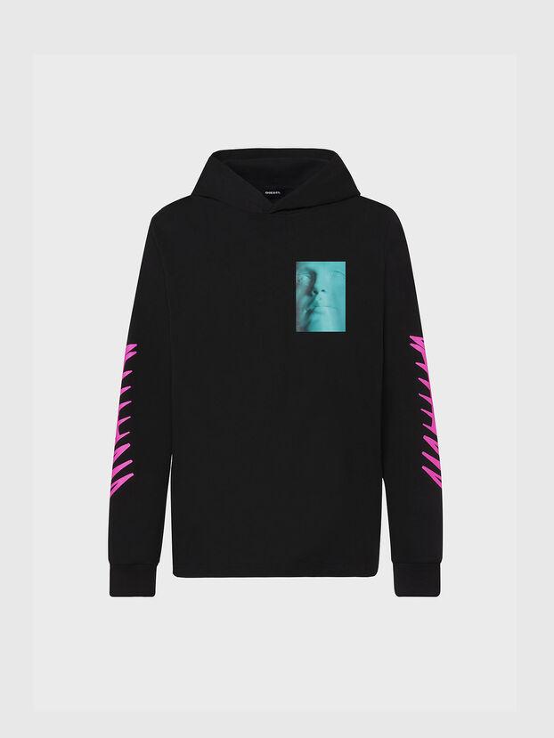 T-JUST-LS-HOOD-X30, Noir - T-Shirts