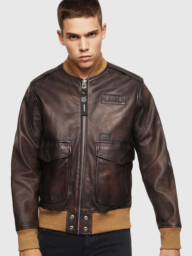 L-OIUKI, Brown - Leather jackets