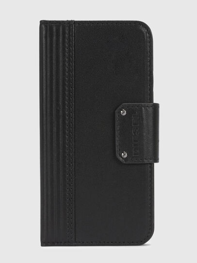 Diesel - BLACK LINED LEATHER IPHONE X FOLIO, Noir - Coques à rabat - Image 2