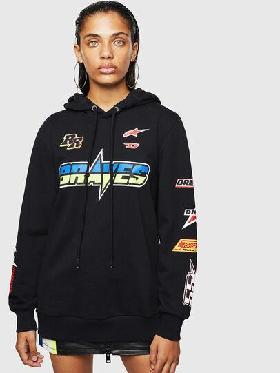 Diesel - ASTARS-F-GIR-HOOD-FL, Black - Sweatshirts - Image 1