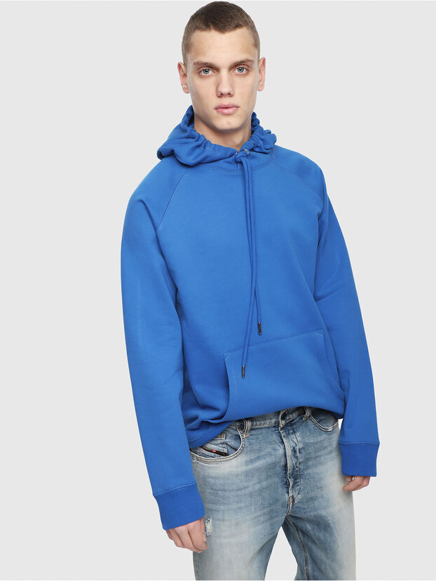 S-GIM-HOOD-A, Bleu Brillant - Pull Cotton